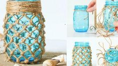 Fish Net Wrapped Mason Jar For a Beachy Look! | DIY Joy Projects and Crafts Ideas