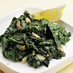 Simple Sautéed Spinach Recipe Side Dishes with extra-virgin olive oil, garlic, fresh spinach, lemon juice, salt, crushed red pepper
