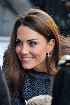 Kate Middleton, The Duchess of Cambridge, wearing her Links of London White Topaz Hope Egg Earrings.