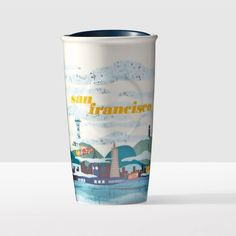 San Francisco Double Wall Traveler. A double-walled ceramic mug depicting a foggy day in the City by the Bay.