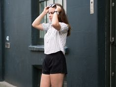 Fashion | Shorts | Black | Stripes | Off Shoulder | Blogger