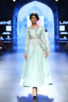 pastel blue anarkali, angrakha style suit, floor length suit, silver work on neck