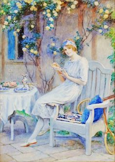 William Henry Margetson (British artist, 1861-1940) Woman on Terrace