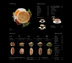 Restaurant menu 'wich by Ken Lo. This would translate so well across media. Food Design, Web Design Blog, Drink Menu Design, Restaurant Menu Design, Restaurant Branding, Web Design Inspiration, Restaurant Marketing, Bakery Design, Brand Identity Design