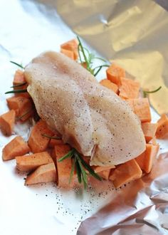 Chicken and Sweet Potato packets. So much flavor and healthy too! A great memorial day recipe that's easy to throw on the grill.