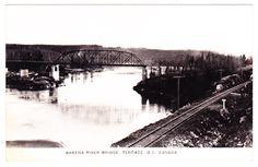 A circa postcard view of the Skeena River bridge at Terrace, B. Vintage Postcards, British Columbia, North West, Terrace, Bridge, Canada, River, Outdoor, Vintage Travel Postcards