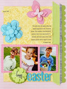 Easter Portraits Page  LOVE the layering on this scrapbook page layout