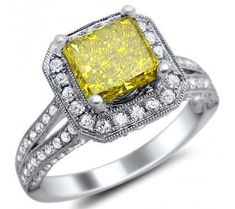 2.37ct Fancy Yellow Canary Radiant Cut Diamond Engagement Ring Vintage Style 18k White Gold / Front Jewelers