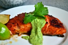 Thai Red Curry And Brown Sugar-Rubbed Salmon With Avocado Crema