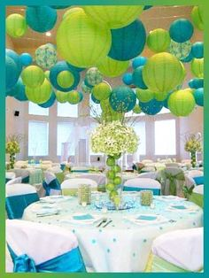 Turquoise and Lime Green Decor - #lantern quince decor #fifteen birthday decor lantern