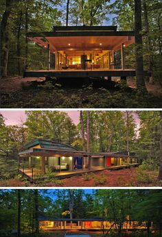 18 Modern House In The Forest // Rather than cut down the trees to make room for the house, the trees in this forest became part of the house design.