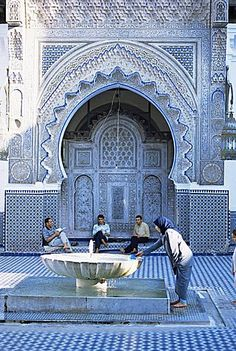 Courtyard of the Kairaouine mosque, Fes el-Bali, Medina,  Morocco