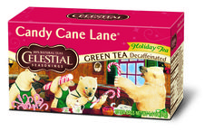 Candy Cane Lane is a smooth decaf green tea with the festive flavors of vanilla and other holiday tastes!  http://www.celestialseasonings.com/products/holiday-teas/candy-cane-lane