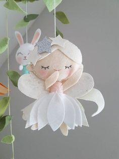 Fairies In The Forest Baby Mobile woodland mobile Baby Felt Christmas Decorations, Christmas Crafts, Baby Crafts, Felt Crafts, Felt Mobile, Mobile Baby, Felt Bookmark, Felt Fairy, Creative Gift Wrapping