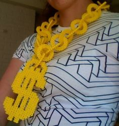 Gold Dollar Sign Necklace in Perler Beads