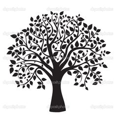 Black tree silhouette isolated on white background — Zdjęcie stockowe #10515275