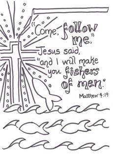 Flame: Creative Children's Ministry: Fishers of men verse to colour in