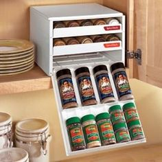 Space-saving drawers make spices easy to find. - Click image to find more Products Pinterest pins