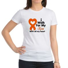 I Walk For My Hero With All My Heart Kidney Cancer Awareness shirts, apparel and gifts featuring our original heart ribbon for advocacy by HopeAwarenessRibbons.Com
