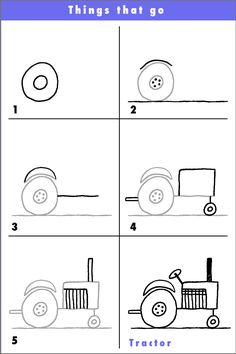 Draw a tractor! - Try this fun tractor and why not put a funny character driving it? A salute to our hard working far - Drawing Lessons For Kids, Art Drawings For Kids, Drawing Tips, Cartoon Drawings, Easy Drawings, Art Lessons, Painting & Drawing, Art For Kids, Directed Drawing