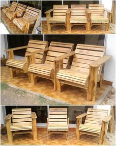 Unique DIY Projects With Wood Pallets – Pallet Projects Diy Pallet Sofa, Wooden Pallet Furniture, Diy Pallet Projects, Rustic Furniture, Wood Pallets, Wooden Chairs, Pallet Wood, Pallet Ideas, Pallet Chairs