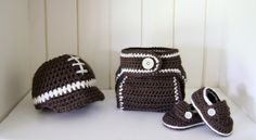 Football Baby gift set  baby loafers diaper cover by cottoncorner