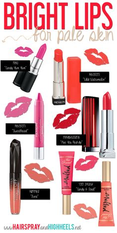 Bright Lips For Pale Skin fashion girly colorful make up bright lipstick makeup tutorials makeup tips