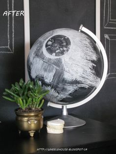 Death Star globe by Pat Wheele (chalk on chalkboard-painted globe)