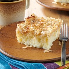 """Moist Lazy Daisy Cake Recipe -We always called this Mama's """"never fail"""" recipe. I guess the same holds true for me, since I've entered this cake in contests and won with it. This tasty dessert is popular in our family, and it always brings back fond memories of Mama. —Carrie Bartlett, Gallatin, Tennessee"""