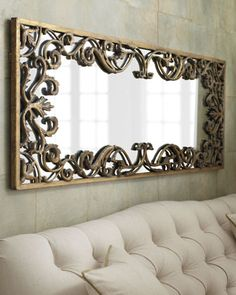 "Another option: Turn mirror vertically and prop against a wall. (""Apricena"" Mirror at Neiman Marcus)."