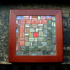 Earth Tones and Coral Log Cabin Mosaic Trivet by Margaret Almon of nutmegdesigns