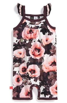 Baby Girl Stuff: 'Pink Poppies' Cotton Blend Romper (Baby Girls)