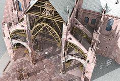 Hypothèse de restitution d'un chantier gothique de la cathédrale de Strasbourg…