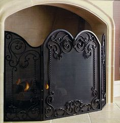 Acanthus leaves fireplace screen at Frontgate