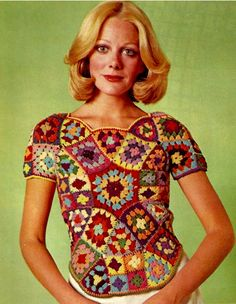 I thought this would be a great pattern to start with. What could be more vintage than some granny square crochet from the early 1970's?  This project was orginally featured in a Woman's Day...