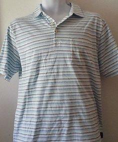 Mens-Patagonia-100-Organic-Cotton-Short-Sleeve-Striped-Golf-Polo-Shirt-Medium