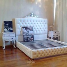 """On instagram by frenchfurniture  #homedesign #metsuke (o)  http://ift.tt/1YSMqdv  """"CROWN LUXE"""" Bed Frame  Default: 170 (H) cm (Customize color & size)  With a beautifully-crafted headboard that pays homage to the long-gone eras of regalia and extravagance the Crown Tufted bed brings classic elegance to every home. Available to order in alternative size upholstery and color including Clients own fabric. ETA Singapore 10 Weeks Overseas 12 Weeks. #Interior #LuxuryLife #InteriorStyling…"""