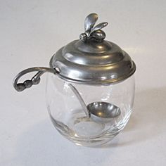 Vintage Bee Honey Pot or Jar  Glass with Aluminum Lid and Ladle. via Etsy.