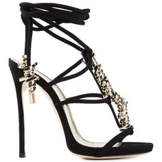 DSQUARED2 Barbed Wire Sandals (2.610 BRL) ❤ liked on Polyvore featuring shoes, sandals, black, black strappy stilettos, black leather stilettos, black strappy shoes, black strap sandals and black leather sandals