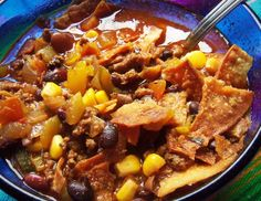 Southwestern Hamburger Soup - Hispanic Kitchen This would be a good soup recipe. I love tortilla chips with my soups & stews--esp with chicken soups--but tortilla chips are good with all soups/stews/goulash.
