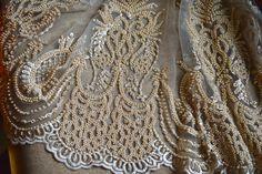 Beautiful hand beaded luxury beige bridal net lace fabric by SixthCraft on Etsy