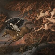Flemish Master Painted during his Italian permanence XVII Century Triumph of Death Oil on canvas 65 x 82