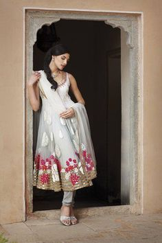 White anarkali with flower embroidery