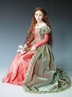 I'd love this color combination and general style for a dress. (doll by Diane Keeler) Dollhouse Dolls, Miniature Dolls, Miniature Houses, Clay Dolls, Bjd Dolls, Pretty Dolls, Beautiful Dolls, Beautiful Dresses, Realistic Dolls