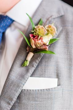 Gold & Green Boutonniere