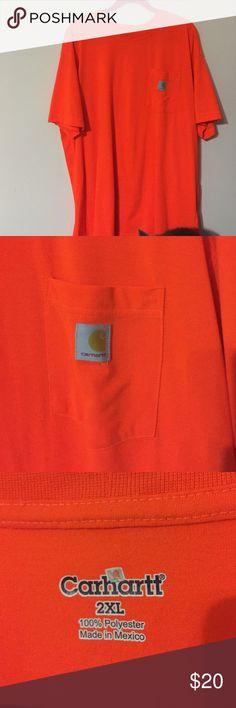Men's Carhartt Orange pocket t-shirt Safety orange in Sz 2x, great condition, 100% polyester, moisture wicking fabric. Carhartt Shirts Tees - Short Sleeve