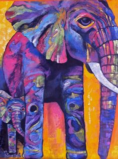 Elephants Original Oil Painting by Stacey Rawlins 8X10 PRINTS. $18.00, via Etsy.