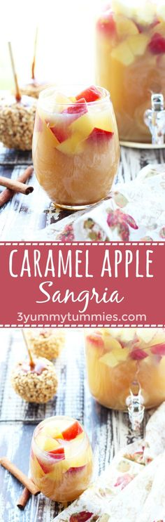 This Caramel Apple Sangria is the perfect fall cocktail with apple cider, white wine, caramel vodka, caramel sundae sauce and fresh apples!