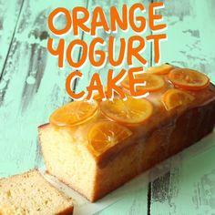 Moist orange yogurt cake loaf with candied oranges and an orange glaze Cake Orange Yogurt Cake Orange Yogurt, Lemon Yogurt Cake, Yogurt Bread, Orange Orange, Let Them Eat Cake, Yummy Cakes, No Bake Cake, Baking Recipes, Healthy Cake Recipes
