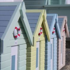Beach Hut Boxes These tiny little wooden beach huts with hinged lids make a practical and attractive storage solution for tucking away all of those vitally important bits and bobs. Why not splash out and collect all four! Beach Hut Shed, Beach Huts, Coastal Art, Coastal Living, Coastal Style, Play Houses, Bird Houses, Kitsch, British Beaches